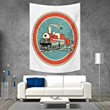 smallbeefly Steam Engine Beach Throw Blanket Vintage Style Orange and Blue Banner Train Transportation Retro Old Vertical Version Tapestry 54W x 84L INCH Turquoise Salmon Ivory