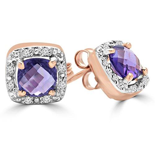 1coussin ctw Diamant et Améthyste Coupe Halo Boucles d'oreilles clous en or rose 10carats avec fermoirs à vis