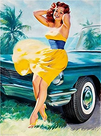 CANVAS 1940s Pin-Up Girl in the Yellow Dress Picture Art print POSTER
