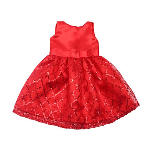 Homyl Sequined checked Dress Sleeveless Dress Skirt Costume Dress Outfit for 18inch American Girl Doll Red