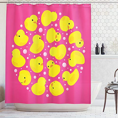(Ambesonne Rubber Duck Shower Curtain Set, Fun Baby Duckies Circle Artsy Pattern Kids Bath Toys Bubbles Hot Pink Animal Print, Fabric Bathroom Decor with Hooks, 70 Inches, Pink Yellow)