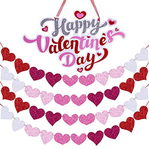 Supla 1 Pcs Happy Valentines Day Door Signs Door Hangers Window Wall Hanging Signs Welcome Signs and 26 Long Glitter Hearts Garland Party Hearts Banner Garland Backdrop Backgound String Decoration