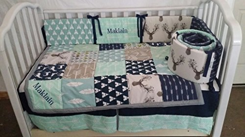 Woodland 1 to 4 Piece baby boy nursery crib bedding Quilt, bumper, and bed skirt, Buck, deer, fawn, head silhouette, Arrow, Teepee, Aztec, Navy, Mint, Gray, Lt Blue