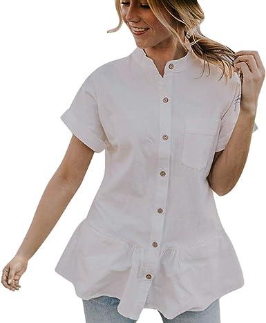 PARVAL Mujer Camisa Camisa de Manga Corta para Mujer Botón Blusa Suelta Camisa Elegante Tops de Verano Moda Transpirable Cómodo Verano Suave Streetwear: Amazon.es: Ropa y accesorios