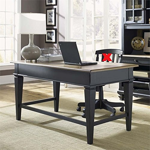 Liberty Furniture Industries 641-HO105 Bungalow II Jr Executive Desk, Driftwood & Black Finish