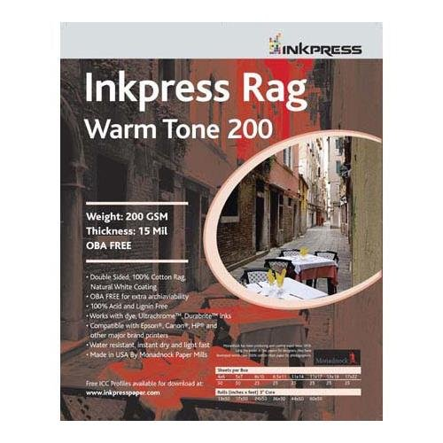 - Inkpress Rag, Warm Tone Double Sided, Cream White Matte Inkjet Paper, 15 mil., 200gsm, 11x17