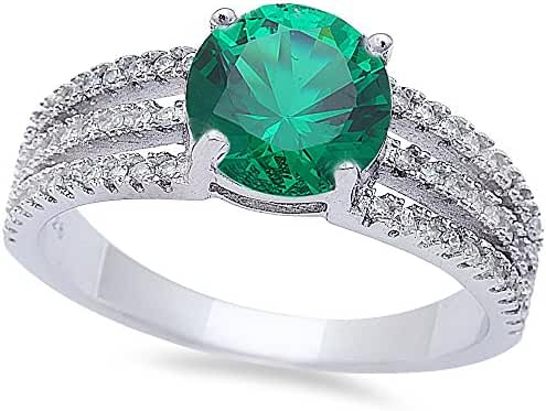 Round Simulated Simulated Emerald & Cubic Zirconia Fashion .925 Sterling Silver Ring Sizes 6-9