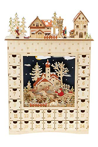 (Clever Creations Clouds and Santa Village Advent Calendar | 24 Working Drawers to Count Down Days Till Christmas Cheer | Perfect Holiday Decor|Battery Operated - not Included|Measures 18