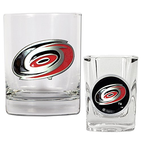 NHL Carolina Hurricanes Rocks Glass & Square Shot Glass Set - Primary (Nhl Rocks Glass Square)
