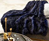 Horimote Home Luxury Faux Fur Throw Blanket, Super Warm, Elegant, Fluffy Decoration Blanket Scarf for Sofa, Couch and Bed, 50 by 70 Inchs,Navy Blue