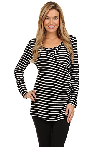 Striped Crossover (Striped Crossover Dual Maternity and Nursing Top (Large, Black and White))