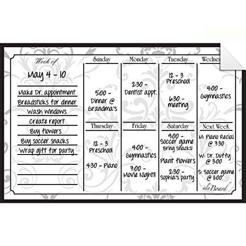 Dry Erase Decal Weekly Calendar Gray Damask