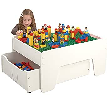 """Constructive Playthings 32 3/4"""" L. x 25"""" W. x 17 1/4"""" H. Activity Table with Trundle Drawer for Preschool Building Bricks"""