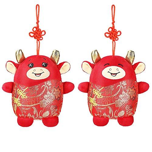 2Pcs Zodiac Ox Cattle Plush Toy New Year Ox Pendant Stuffed Animal Dolls Hanging Cow Plush Toy Ornament Red Cow Mascot…