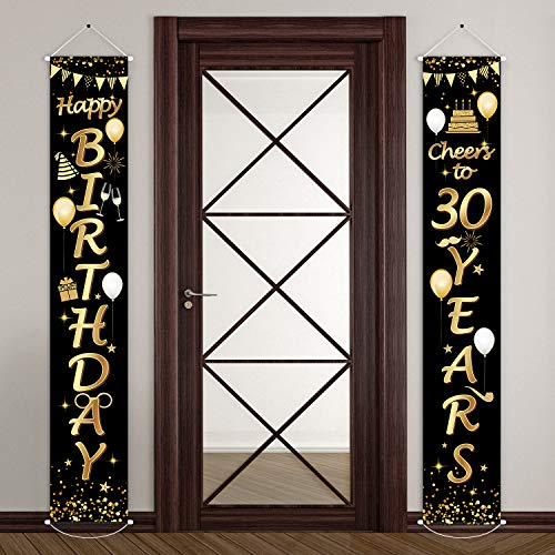 Decorations For 30th Birthday Party (2 Pieces 30th Birthday Party Decorations Cheers to 30 Years Banner 30th Party Decorations Welcome Porch Sign for 30 Years Birthday Supplies (30th)