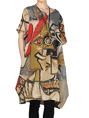 Mordenmiss Women's Summer Abstract Printing Baggy Dress with Pockets M Gray ()