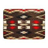 Ablitt Bath Mat Brown Patterns Native American Navajo Tribal Red Southwest Bathroom Decor Rug 16'' x 24''