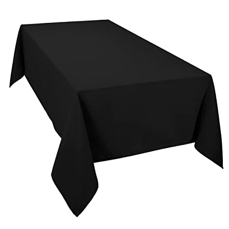 Casual Dining Essentials Black 70 X 108inch (178x 274centimeter) Oblong  (Rectanglular) Tablecloth