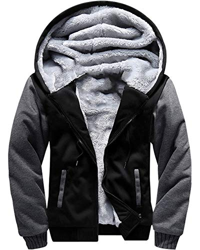 MACHLAB Men's Pullover Winter Workout Fleece Hoodie Jackets Full Zip Wool Warm Thick Coats Black US M(Tag L)
