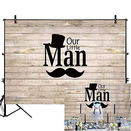 Allenjoy 7x5ft Grey and White Wood Board Welcome Our Little Man Prince 1st Birthday Baby Shower Photography Backdrop Gentleman Mustache Hat Boys Baptism Party Photo Booth Table Supplies Studio Props