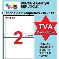 200 étiquettes 210 x 148.5 mm - soit 100 feuilles A4- planche A4 avec 2 étiquettes autocollantes DE Réf UNIVERS GRAPHIQUE UGCMO1-100