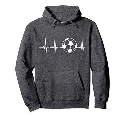 Soccer Sweatshirt - Unisex Soccer Heartbeat Shirt - Soccer Ball Heartbeat Hoodie Large Dark Heather