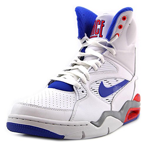 32974ee87e98c Nike Men's Air Command Force White/Lyn Bl/Brght Crmsn/Wlf G Basketball Shoe  8.5 Men US