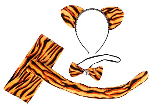 Costume Accessories - Orange Tiger Print Cat Ear Headband, Bow Tie, and Tail - Tiger Print Cat