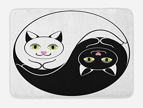 Lunarable Ying Yang Bath Mat, Black and White Cuddling Cats in Asian Yin Yang Form Harmony and Balance Kitten, Plush Bathroom Decor Mat with Non Slip Backing, 29.5 W X - Rug Yin Yang