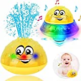 Bath Toys, 2 in 1 Induction Spray Water Toy & Space UFO Car Toys with LED Light Musical Fountain Toy Automatic Induction…