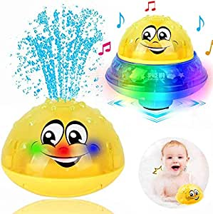 Bath Toys, 2 in 1 Induction Spray Water Toy & Space UFO Car Toys with LED Light Musical Fountain Toy Automatic Induction Sprinkler Bath Toy Bathtub Toys for Toddlers