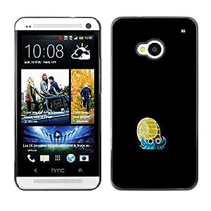 A-type Arte & diseño plástico duro Fundas Cover Cubre Hard Case Cover para HTC One M7 (Meter Monstruo azul de oro caracol)