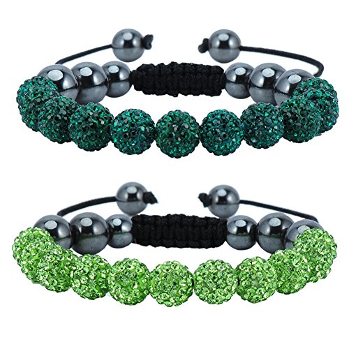 Crystal Ball Adjustable Bracelet - Bling Toman Disco Balls Bracelet Beaded Pave Crystals Adjustable Wrist Unisex Style Iced Out Jewelry for St Patricks Day (Green Beads)