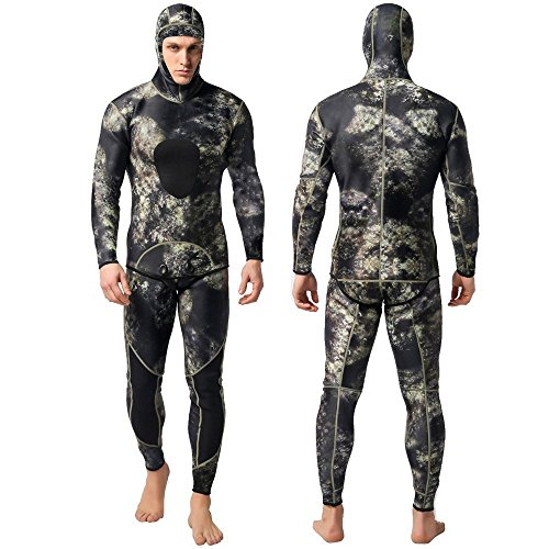 - Nataly Osmann Camo Spearfishing Wetsuits Men 3mm Neoprene 2-Pieces Hooded Super Stretch Diving Suit