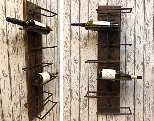 WINE RACK Wall Mounted - RUSTIC Distressed Wood - Vertical 7 Bottle Holder - Antique Brown with rustic metal with red accents (Wine Bottles not included) *Bar, Mancave, Dining Room WINERACK