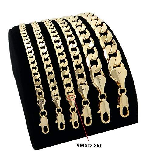 Florance jones Cuban Link Chain Necklace Bracelet 14k Gold Finish 5mm to 12mm Wide   Model NCKLCS - 10679   9/12 ()