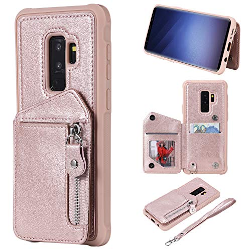- Galaxy S9 Plus Case, Futanwei Four Corner Thickening Zipper Double Buckle Folio Flip Leather Wallet Protective Case with Clasp Wrist Strap/Card Slots/Kickstand for Samsung Galaxy S9 Plus, Rose Gold
