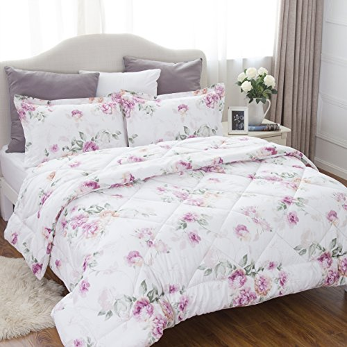 Bedsure raised Floral Pattern Comforter Set Full/Queen Size(88