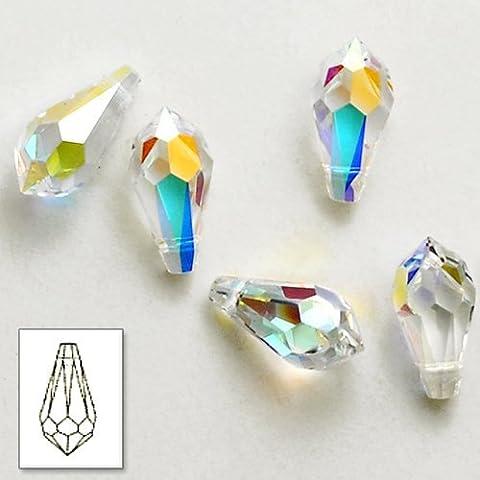 50 12mm X 6mm Austrian TearDrop Facet Crystla/AB Beads Altern.For Swarovski 50 pcs - Ab Swarovski Crystal Drop Bead