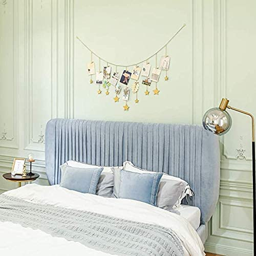 Gold ShuGuan Hanging Photo Display Wood Stars Garland with Chains Picture Frame Collage with 25 Wood Clips Wall Art Decoration for Home Office Nursery Room Dorm Holiday Card Display