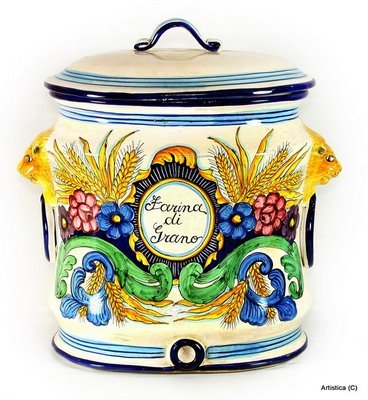 Italian Ceramics Majolica (MAJOLICA: Oval canister Farina di Grano (Wheat Flour) [#BA35])