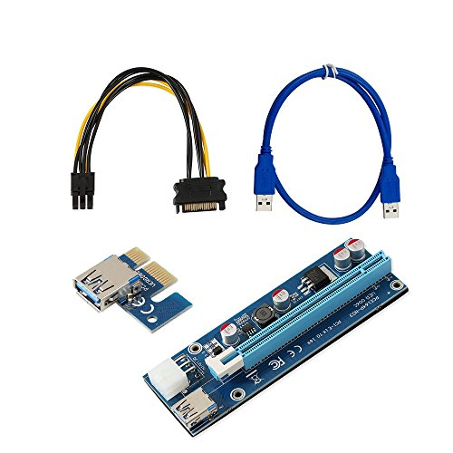 51A4gcWUWML - PCIe Riser Card,ATIVI 6 Pin PCIe 16X to 1X Powered Riser Adapter Card With 60cm USB 3.0 Extension Cable and PCIe to SATA Cable GPU Adapter Ethereum ETH Bitcoin Mining Dedicated Graphics Card