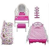 Tmtop 8 Items/lot Princess Furniture Accessories Kids Gift 1xDresser Set + 1x Sofa Set+1xBed Set + 5X Hangers for Barbie Doll