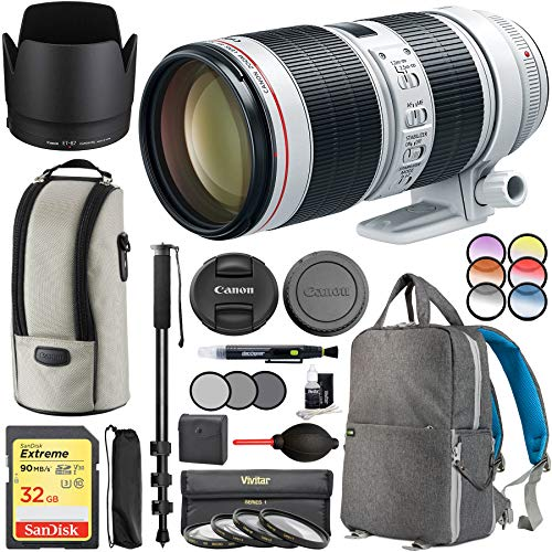 Canon EF 70-200mm f/2.8L is III USM Telephoto Zoom Lens Digital SLR Cameras 3044C002AA with 77mm Multicoated UV, Polarizer & FLD Filter Kit Photography Backpack Bundle