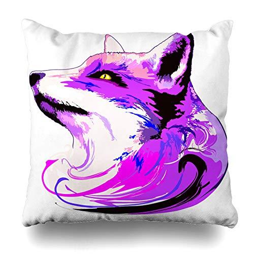Suesoso Decorative Pillows Case 18 X 18 Inch Surreal Artistic Purple Fox Portrait Like Animal Art Animal Spirit Throw Pillowcover Cushion Decorative Home Decor Garden Sofa Bed Car -