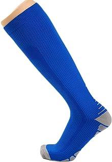 ZJEXJJ Chaussettes de Compression pour Hommes et Femmes (Compression, Graduée,) (Idéal pour Le Sport, Le Travail, Le vol, la Grossesse) (Couleur : Blue1, Taille : One Size)