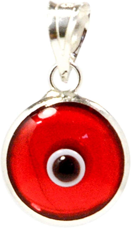 Pendentif avec charme de mauvais /œil en verre de 10 mm en argent sterling 925-14 couleurs disponibles