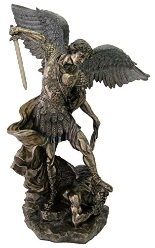 - Top Collection 2ft. 3inch Large St Michael Statue Defeating Lucifer in Cold Cast Bronze- Saint Michael the Archangel of Protection and Justice - Collectible Catholic Statue