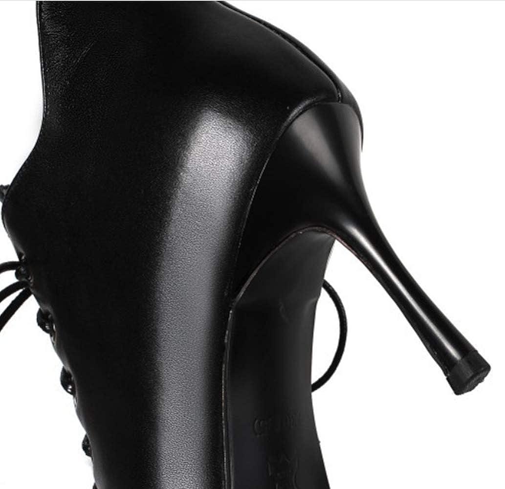 Shiney Damenstiefeletten Aus Echtem Leder Mit Gürtel Gürtel Gürtel Stiletto Heels Spitzer Absatz 39656d
