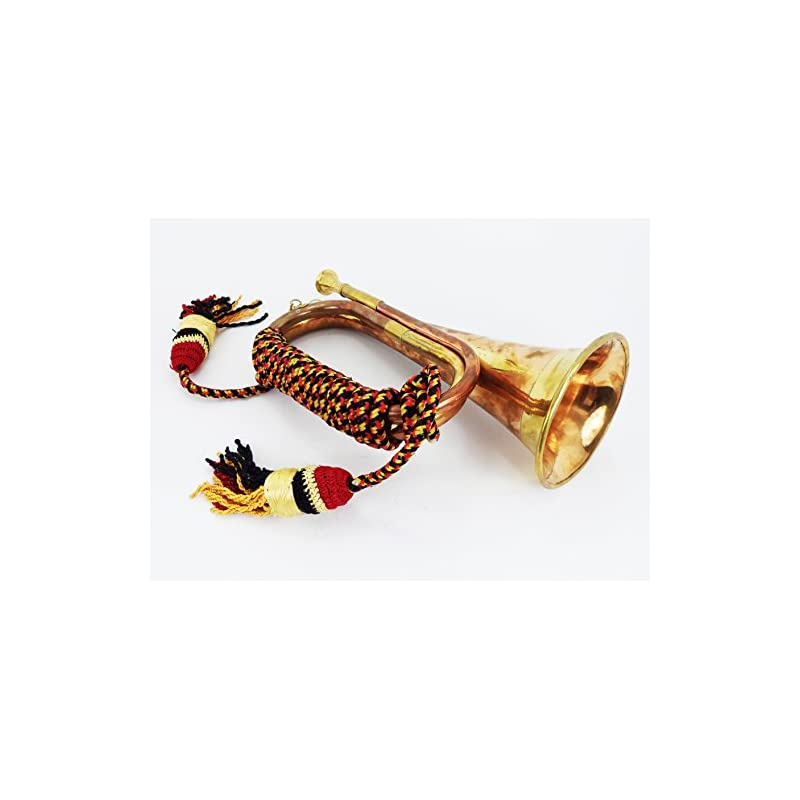 """Boy Scout Brass and Copper Blowing Bugle Attack War Command Signal Horn 10.6"""" Inch with Beautiful Colourful Rope Binding"""